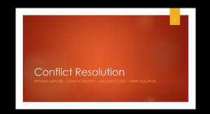 first slide of conflict resolution presentation showing conflict resolution title