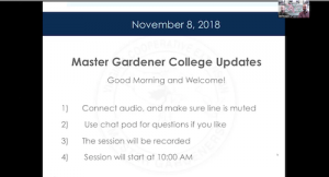 first slide of webinar presentation showing master gardener college updates title